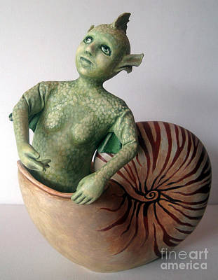 Mystery Of The Nautilus - Figurative Sculpture Art Print by Linda Apple