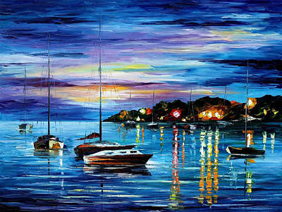 Mystery Of The Night - Palette Knife Oil Painting On Canvas By Leonid Afremov Original by Leonid Afremov