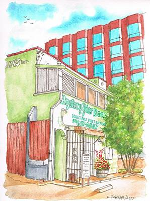 Dibujos Painting - Mystery Pier Book Store On Sunset Blvd - West Hollywood - California by Carlos G Groppa