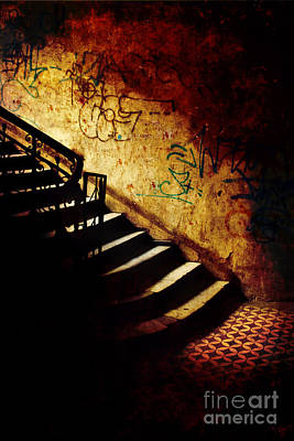 Mystery Stairs And Walls With Writings Art Print