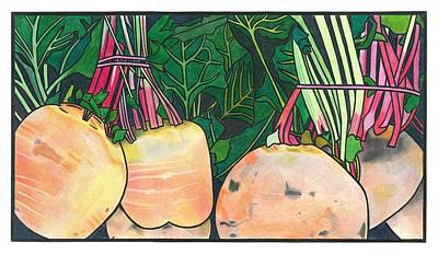 Vegetable Market Drawing - Mystery Vegetables by Lesley Rutherford