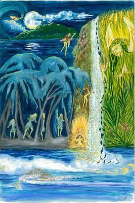 Dancer Mixed Media - Mystic Full Moon Waterfall by Marsha Walker