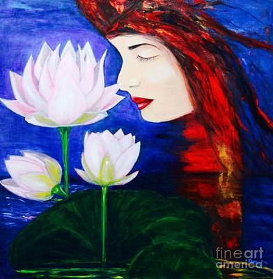 Waterliles Painting - Mystic Lily Lady by ElsaDe Paintings