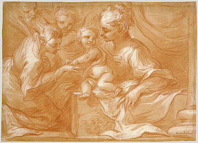 Catherine White Drawing - Mystic Marriage Of Saint Catherine Bartolomeo Biscaino by Litz Collection