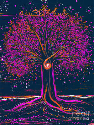 Painting - Mystic Spiral Tree 1 Pink By Jrr by First Star Art