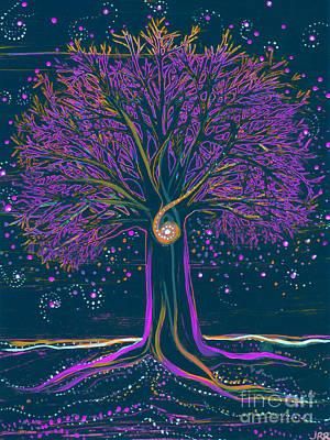 Mystic Spiral Tree 1 Purple Art Print