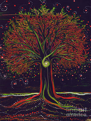 Painting - Mystic Spiral Tree Red By Jrr by First Star Art