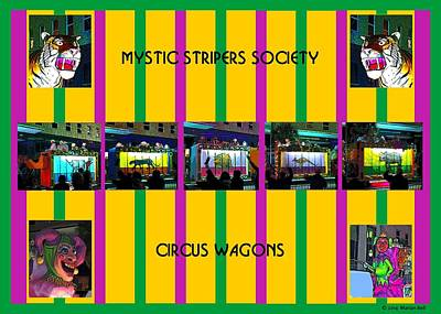 Striper Digital Art - Mystic Stripers Society Circus Wagons by Marian Bell