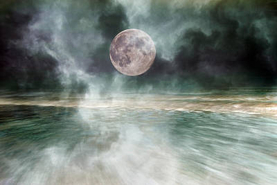 Surrealism Royalty-Free and Rights-Managed Images - Mystical Beach Moon by Betsy Knapp