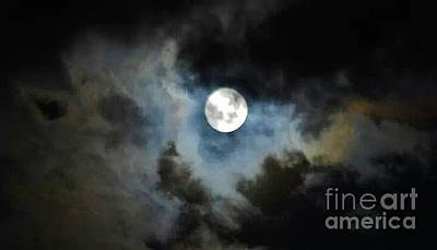Silver Moonlight Photograph - Mystical Clouds by Angela J Wright
