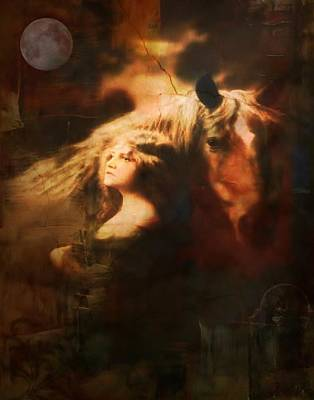 Digital Art - Mystical Gypsy And Horse by Lora Mercado