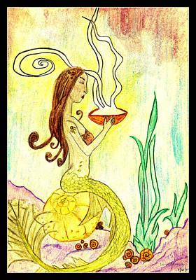 Drawing - Mystical Mermaid by Lora Mercado