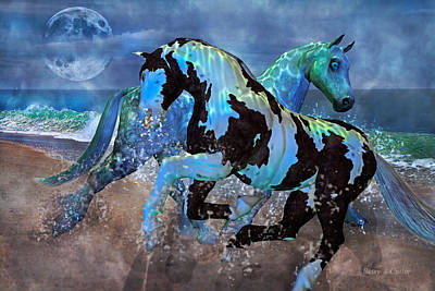 Gray Horse Digital Art - Mystical Midnight  by Betsy Knapp