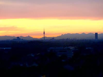Munich Painting - Mystical Munich Skyline With Alps During Sunset by M Bleichner
