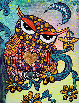 Fun Painting - Mystical Owl by Laura Barbosa