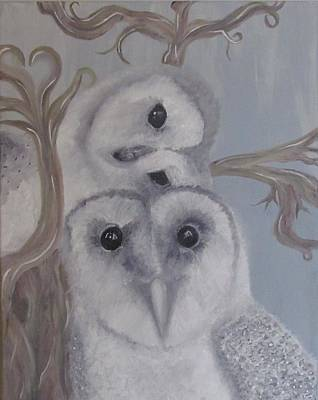 Painting - Mystical Snowy Owls by Dianne Furphy