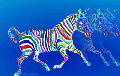 Mystical Zebra On Blue Art Print by Joyce Dickens