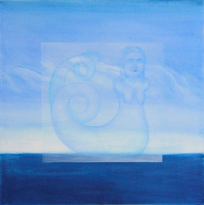 Hydra Island Painting - Mythical Blue Horizon - Left Panel by Diana Perfect