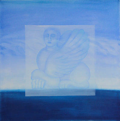 Hydra Island Painting - Mythical Blue Horizon - Right Panel by Diana Perfect