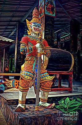 Digital Art - Mythical Thai Warrior by Ian Gledhill