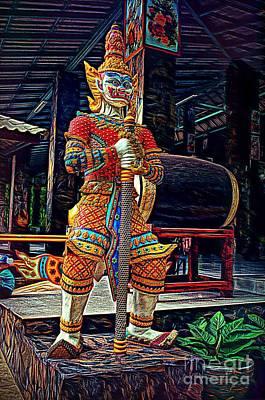 Digital Art - Mythical Thai Warrior by Ian Gledhill