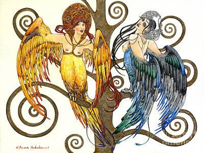 Painting - Mythological Birds-women Alconost And Sirin- Elena Yakubovich  by Elena Yakubovich
