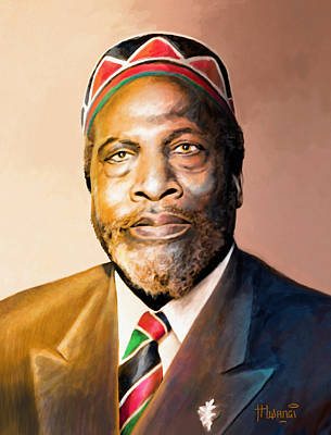 George Bush Wall Art - Painting - Mzee Jomo Kenyatta by Anthony Mwangi