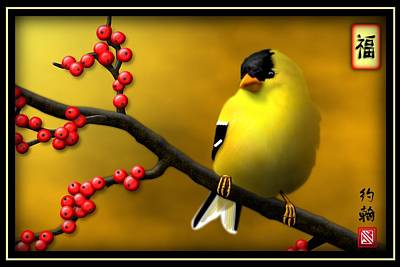 Zen Digital Art - N. American Male Goldfinch by John Wills