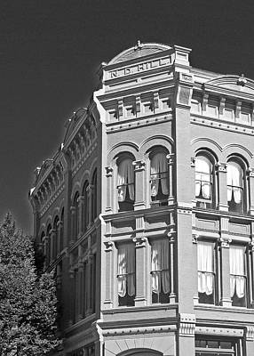 Photograph - N. D. Hill Building 1858. Port Townsend Historic District Vivid Bw by Connie Fox