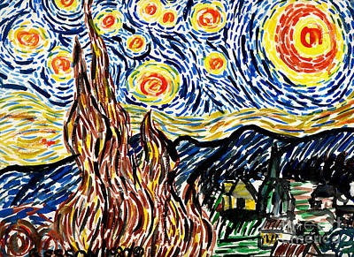 Kirk Painting - Vincent Van Goghs Starry Night by Genevieve Esson