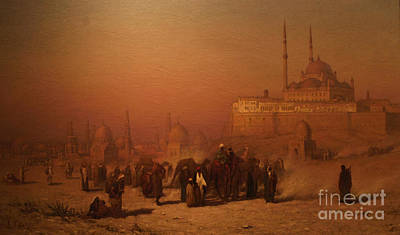 Oriental Art Painting - N The Way Between Old And New Cairo Citadel Mosque by Celestial Images