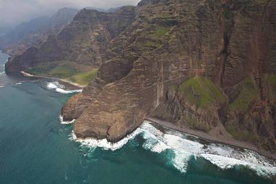 Photograph - Na Pali Coastline Kauai Helicopter Aerial by Steven Lapkin