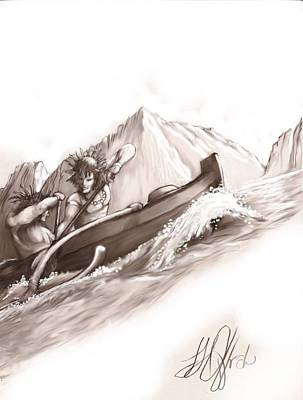 Outrigger Drawing - Na Pali Outrigger by Joe Offret