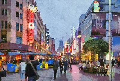 Painting - Nanjing Road In Shanghai by George Atsametakis