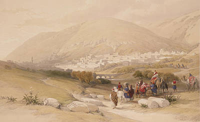 Camel Drawing - Nablous   Ancient Shechem by David Roberts