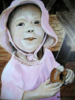Painting - Nadia With Donut--mmmm by Edith Hunsberger