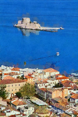 Painting - Nafplio And Bourtzi Fortress by George Atsametakis