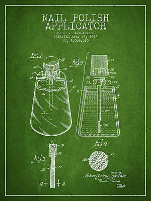 Nail Polish Drawing - Nail Polish Applicator Patent From 1963 - Green by Aged Pixel