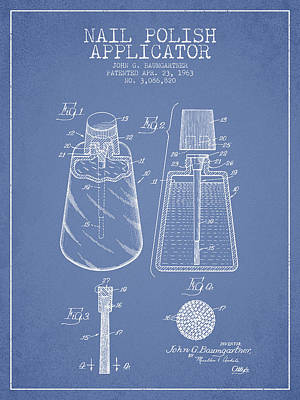 Nail Polish Drawing - Nail Polish Applicator Patent From 1963 - Light Blue by Aged Pixel