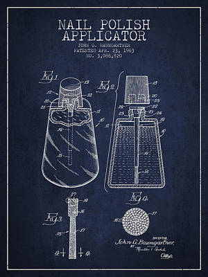 Nail Polish Drawing - Nail Polish Applicator Patent From 1963 - Navy Blue by Aged Pixel