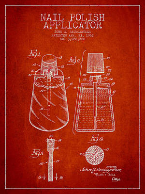 Nail Polish Drawing - Nail Polish Applicator Patent From 1963 - Red by Aged Pixel