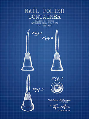 Nail Polish Drawing - Nail Polish Container Patent From 1952 - Blueprint by Aged Pixel