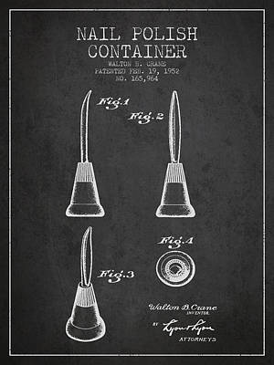 Nail Polish Container Patent From 1952 - Charcoal Art Print by Aged Pixel