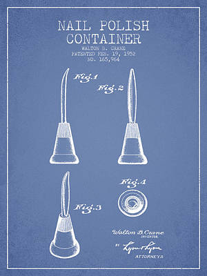 Nail Polish Drawing - Nail Polish Container Patent From 1952 - Light Blue by Aged Pixel