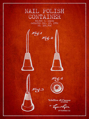 Nail Polish Container Patent From 1952 - Red Art Print by Aged Pixel
