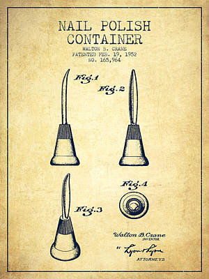 Nail Polish Drawing - Nail Polish Container Patent From 1952 - Vintage by Aged Pixel