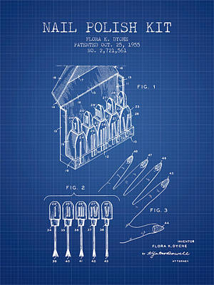 Nail Polish Drawing - Nail Polish Kit Patent From 1955 - Blueprint by Aged Pixel