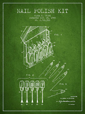 Salon Digital Art - Nail Polish Kit Patent From 1955 - Green by Aged Pixel