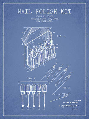 Nail Polish Drawing - Nail Polish Kit Patent From 1955 - Light Blue by Aged Pixel