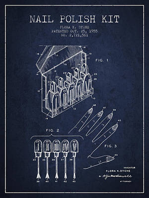 Nail Polish Drawing - Nail Polish Kit Patent From 1955 - Navy Blue by Aged Pixel